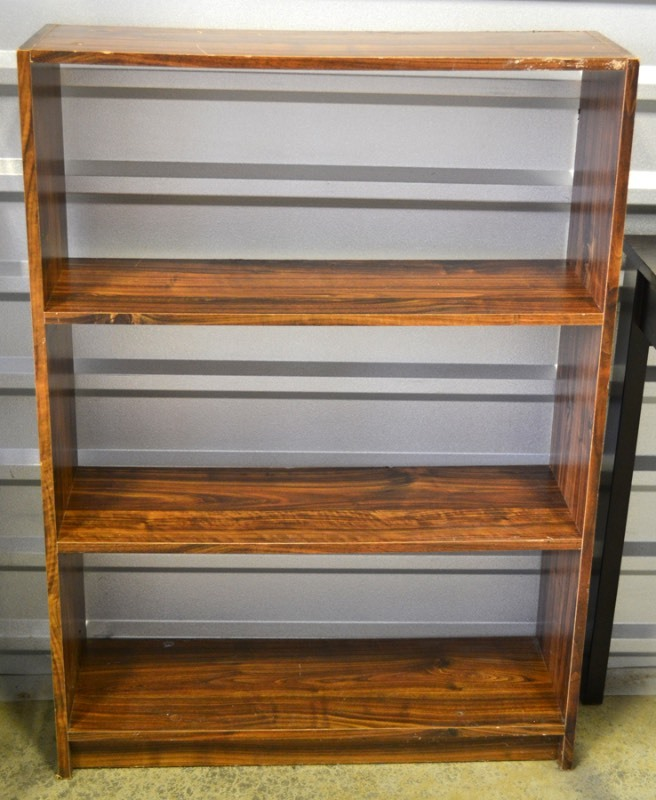 small desk and bookcase leftovers online auction equip bid. Black Bedroom Furniture Sets. Home Design Ideas
