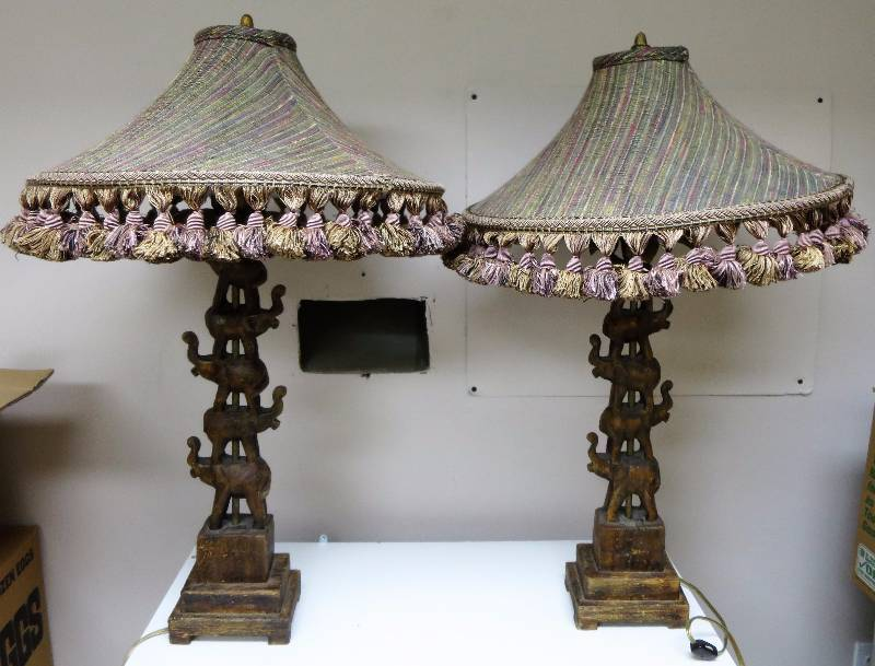 Tyndale elephant table lamps pair hollywood regency kansas city tyndale elephant table lamps pair hollywood regency kansas city north estate auction 2 by fleetsale equip bid aloadofball
