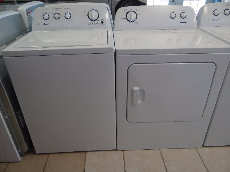brand new amana top load high efficency washer dryer set