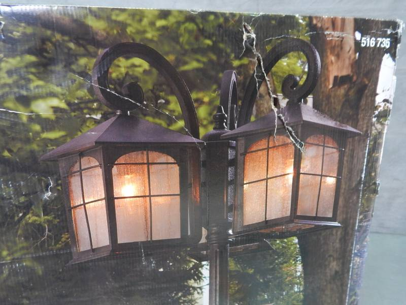 Home Decorators Collection Brimfield Three Head Lantern With Post Factory Sealed Tuesday Night