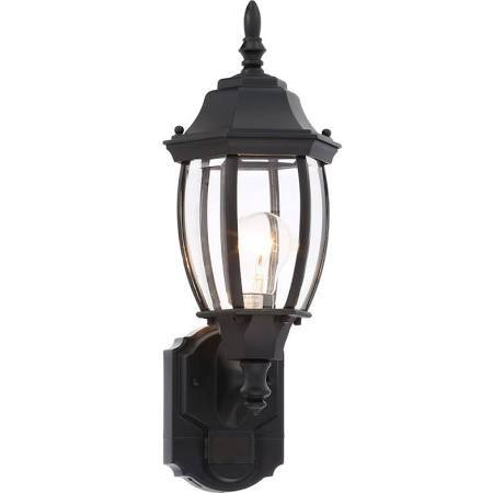 Hampton Bay Wall Mounted Alexandria 180-Degree Outdoor Black Motion-Sensing Decorative Lamp ...