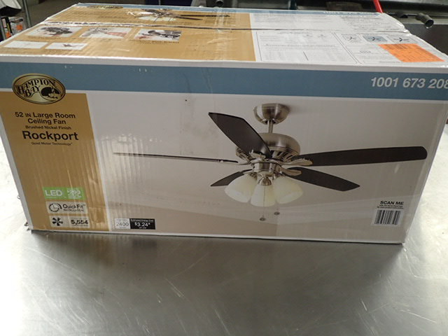 Hampton Bay Rockport 52 In. LED Brushed Nickel Ceiling Fan