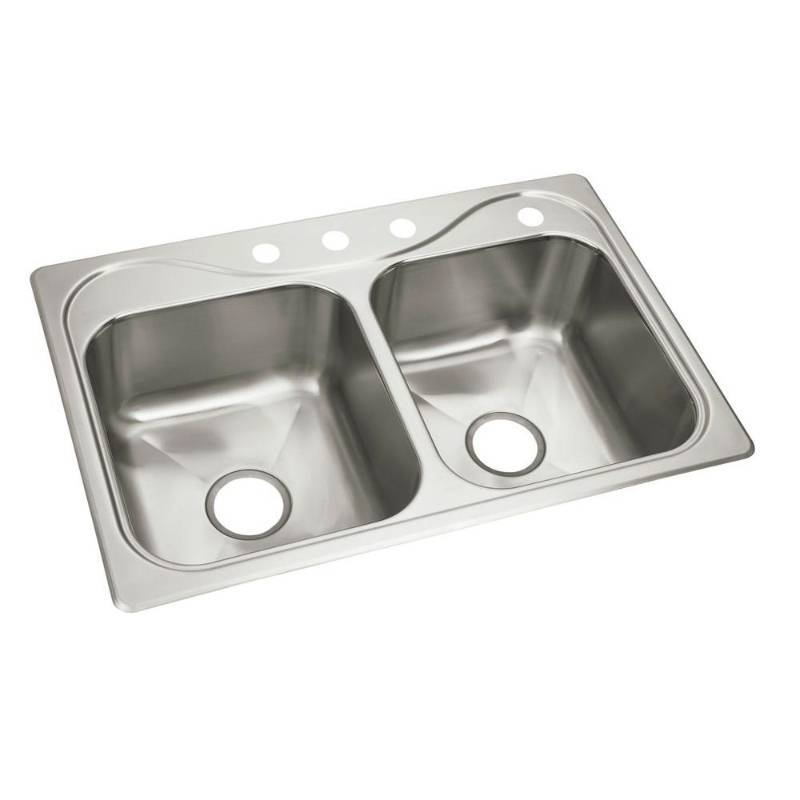 Sterling Kitchen Southhaven Self Rimming 33x22x8 4 Hole Double Bowl Kitchen Sink Huge Name