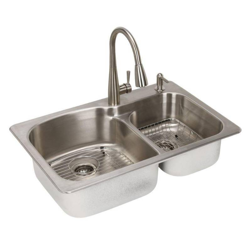 Glacier bay all in one top mount stainless steel 22 in 2 for German kitchen sink brands