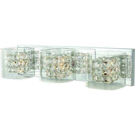 Home Decorators Collection Crystal Cube 3 Light Polished Chrome Vanity Light Huge Name Brand
