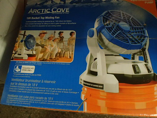 Arctic Cove 18 Volt Two Speed Misting Bucket Top Fan