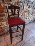 Single Red Vinyl Padded Wood Framed High Back Bar Height Chair