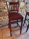 Single Red Vinyl Padded Wood Framed Ladder Back Bar Height Chair