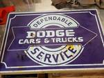 "Wild looking tin 24"" X 36"" sign created to look like this.  It is a photo of an original Dodge Cars & Trucks sign"