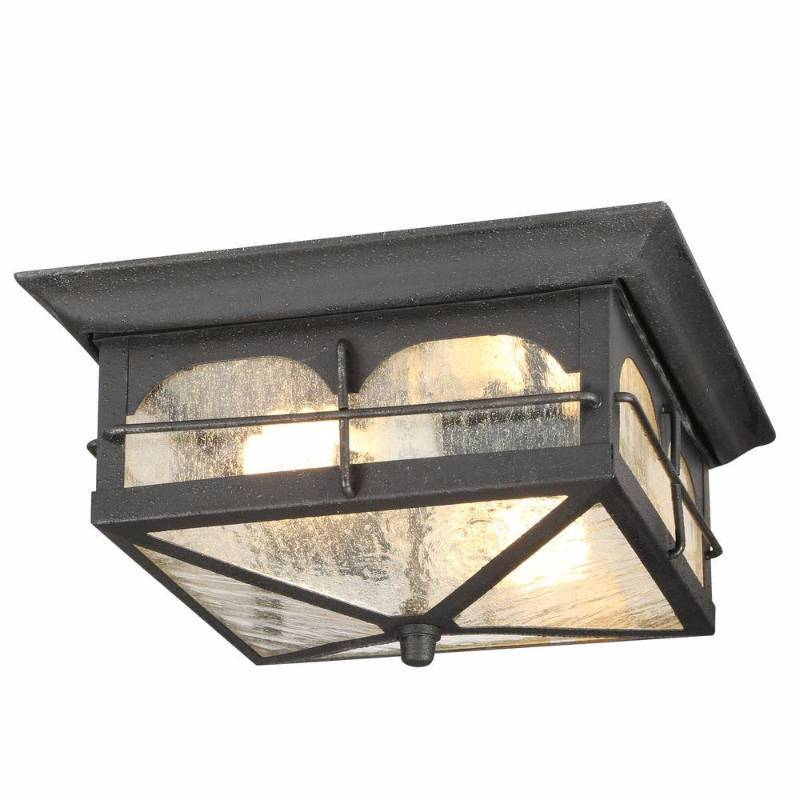 Home Decorators Collection Brimfield 2 Light Aged Iron Outdoor Flush Mount Light New Year