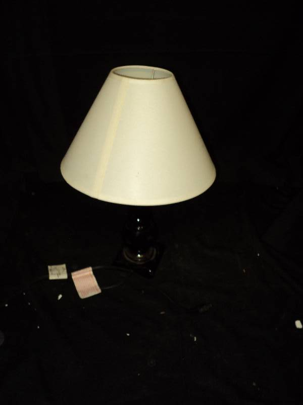 small lamp with black base and white shade year end clean out the. Black Bedroom Furniture Sets. Home Design Ideas