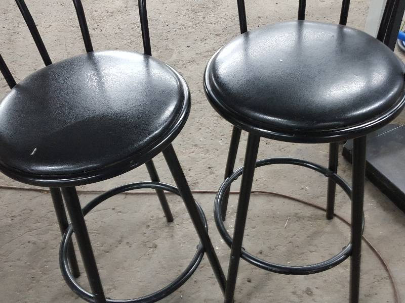 Nice Pair Of Bar Height Wrought Iron Stools With Swivel