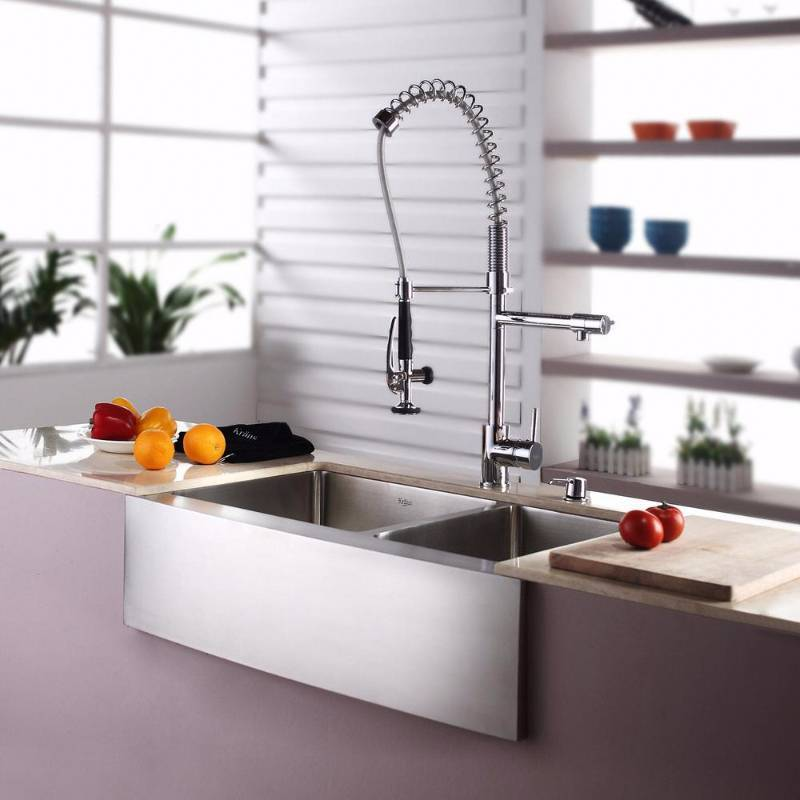Jan S Kitchen Sink: KRAUS All-in-One Farmhouse Apron Front Stainless Steel 33