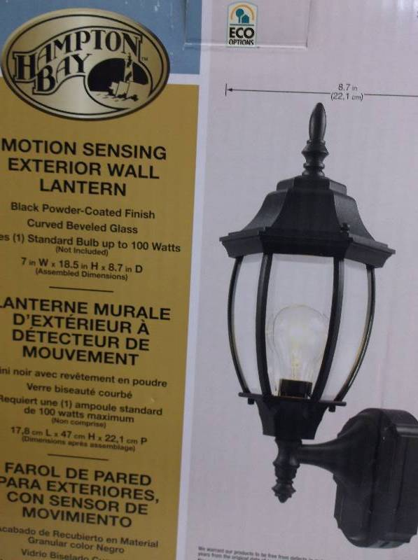 Hampton Bay Motion Sensing Exterior Wall Lantern Black Powered Coated Finish Outdoor Led