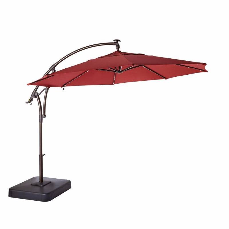 11 Ft Led Round Offset Patio Umbrella In Red Home