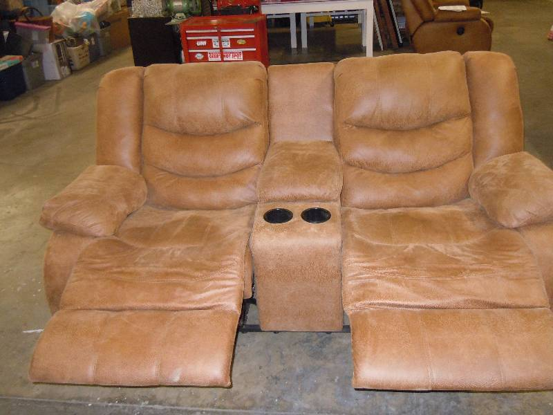 Huge Suede Leather Sectional Sofa With 4 Recliners And