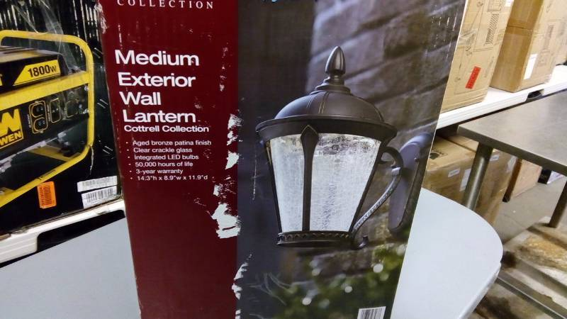 Home Decorators Collection Cottrell Wall Mounted Outdoor Aged Bronze Patina Led Powered Lantern