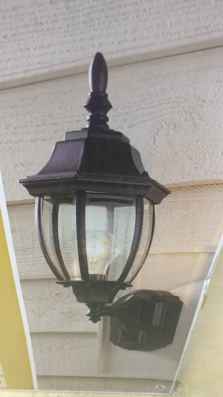 Hampton Bay Motion Sensing Exterior Wall Lantern Ceiling Fans Led Bulbs Outdoor Lighting And