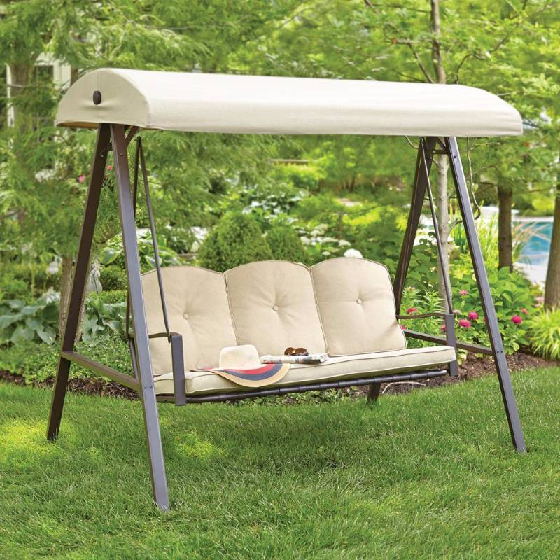 Hampton Bay Cunningham 3 Person Patio Swing With Canopy
