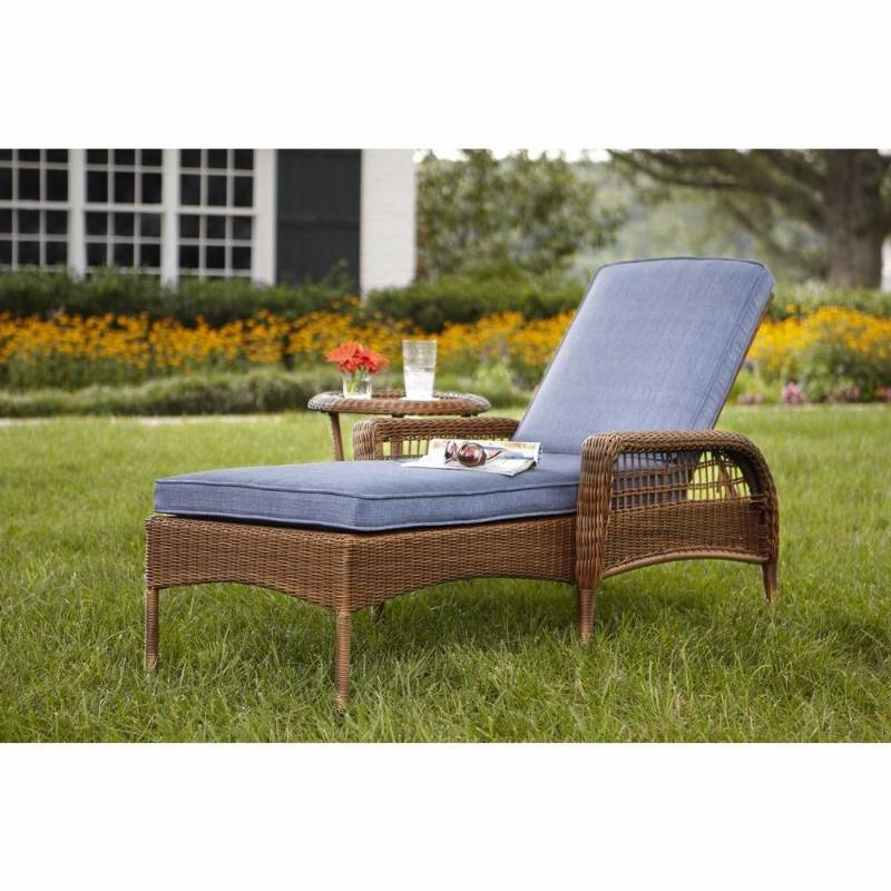 Hampton bay chaise lounges spring haven brown all weather for All weather wicker chaise lounge