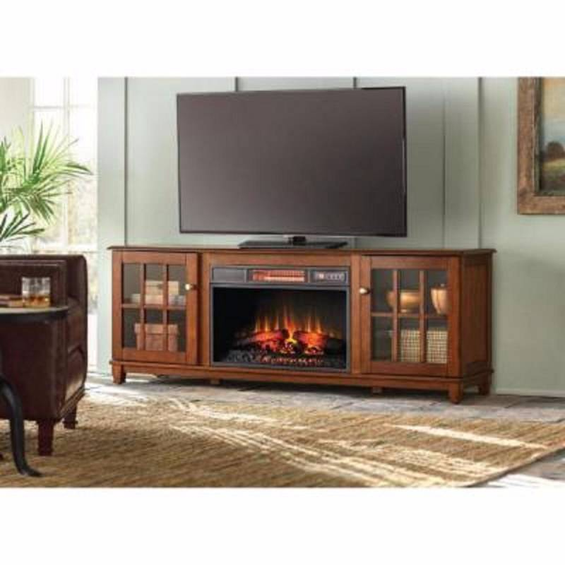Home Decorators Collection Westcliff 66 In Low Boy Media Console Electric Fireplace In Chestnut