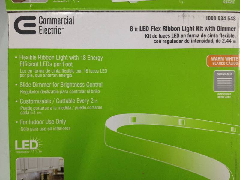 Commercial Electric 8 Ft Led Flex Ribbon Light Kit With