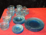 Vintage Blue Glass dinnerware set