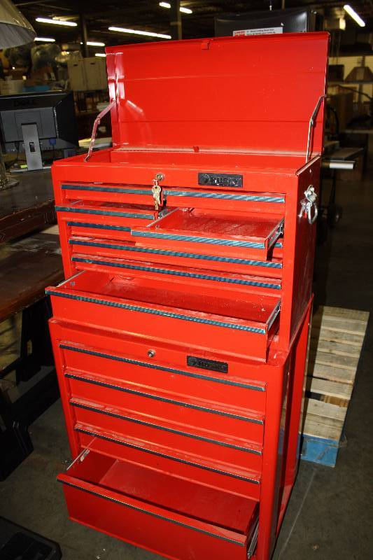 Husky 36 In 14 Drawer Tool Chest And Cabinet Combo In Red