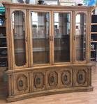 Beautiful Lighted Curved Wood and Glass China Cabinet! A MUST SEE! WOW!