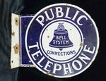 "Vintage 1940s PUBLIC TELEPHONE Porcelain Sign - BELL SYSTEM CONNECTIONS - Flanged, Double Sided - 12"" x 11"" - MUST SEE!!"