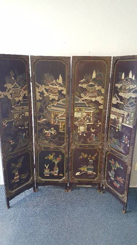 Antique Asian Wood Screen Room Divider Hand Carved Painted w Jade