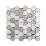 Jeffrey Court Schuyler Grey 11-7/8 in. x 12 in. x 6 mm Glass Mosaic Tile, Gray