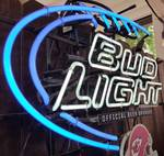 Wow is this a cool neon Bud Light bar sign with a commemorative sponsorship with the Chiefs.