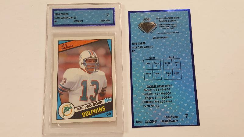 1984 Topps Dan Marino 123 Rookie Card Graded By Cta 7 Nm