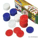 Box of 100 Red Blue and White cheap plastic Poker Chips measuring 1 1/2