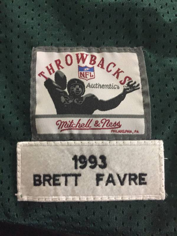 big sale ee25c 26411 Brett Favre Mitchell & Ness Throwback 1993 Green Bay Packers ...