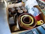 Lot of kitchenware, spice grinders, flower pots, etc.