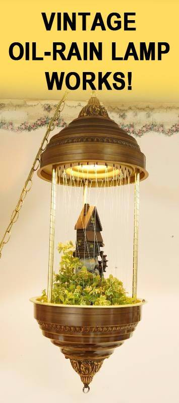 Vintage Hanging Oil Rain Lamp   Grist Mill   TESTED   WORKS! VIDEO!! Moving  Water Wheel Creators Inc Light   1970s Swag Lamp   Nice!