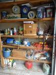 Contents of garage shelves- Tools, hardware, paint, metal tins, misc.