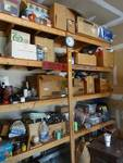 Contents of shelving in garage- Christmas decor, coolers, home decor, tools, hardware, misc.