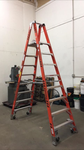 8' WERNER DOUBLE SIDED FIBERGLASS STEP LADDER ON CASTERS