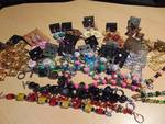 lot of handmade jewelry, beaded bracelets and earrings, over 30 pieces!