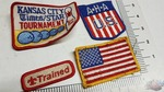 Lot of Vintage Embroidered patches. Kansas City Star Bowling Tournament 1982 American Flag