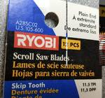 New package of 12 Ryobi scroll saw blades with 11.5 teeth per inch and the plain end for wood