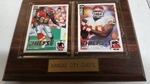 Kansas City Chiefs Derrick Thomas and Neil Smith Player Trading Cards mounted and protected on a nice wooden plaque .
