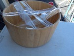 Large wooden mixing bowl