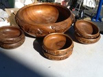 Large wooden mixing bowl set with six small bowls