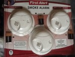 Set of three new smoke alarms