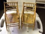 Two  miniature wooden chairs great  Decore  peace