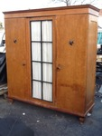 Very nice old wardrobe glass door and right door open up the closet left side is shelves missing skeleton key for lock very neat old wardrobe don't miss this one 6' x 6'